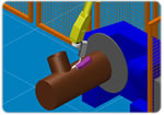 Graphical simulation of a welding robot.