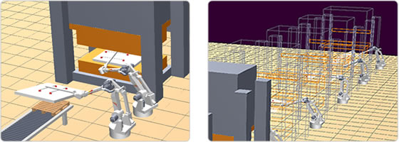 Simulation of a press handling production line using Kawasaki robots.